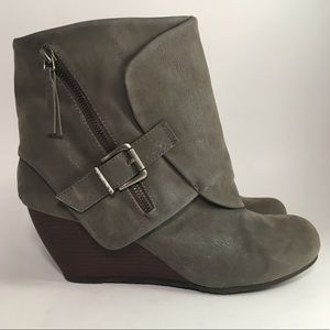 Blowfish Gray Faux Suede Wedge Heel Ankle Boot